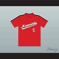Reggie Thomas 5 Portland Mavericks Red Baseball Jersey The Battered Bastards of Baseball