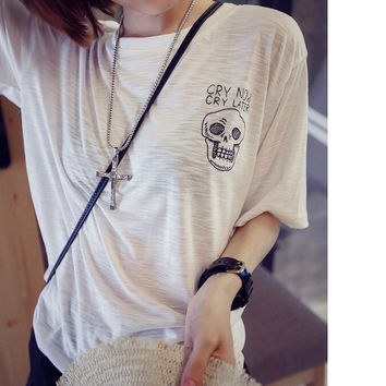 Skull letters printed loose bamboo cotton T-shirt