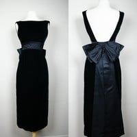 1980's does 50's black cocktail dress velvet with black satin trim and big back bow plunging back sleeveless maxi hostess dress Small US 6