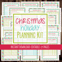 Christmas Planner - Holiday Planner - Printable  Planner - Christmas Holiday Planning Kit - 8 1/2 x 11 -21 Pages-INSTANT DOWNLOAD & EDITABLE
