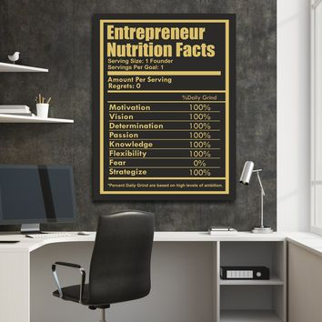 Entrepreneur Nutrition Facts Canvas Wall Art Entrepreneur CEO Art