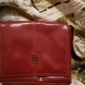 Vintage Mondani Red Faux Leather Shoulder Bag Purse, Mondani Red Faux Leather Handbag
