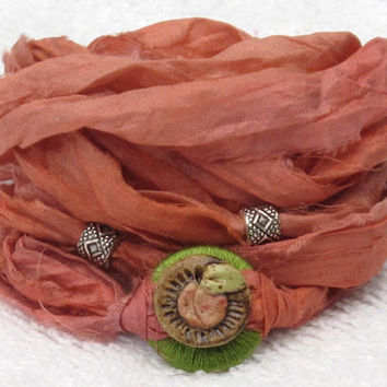 Sari Silk Ribbon Whirly Wrap Bracelet in peach with Georgia Peach ceramic button