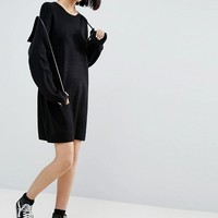 ASOS Knitted Dress with Crew Neck in Fluffy Yarn at asos.com