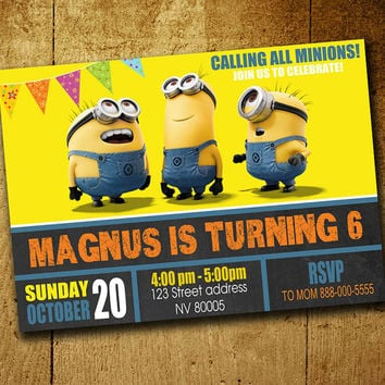 Invitations - Minion Invitation - Minion Birthday - Minion Invitations - Any Age Invitation - Despicable me