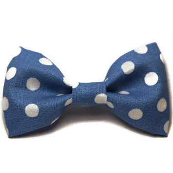 Cat Bow Tie - Kitten, Puppy - Pet Accessories - Girl Dog Collar Bow - Hipster, Preppy, Rockabilly - Polka Dot, Blue