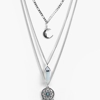 Lara Dreamcatcher Layered Necklace | Boohoo