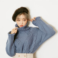 Turtle-Neck Cable-Knit Sweater