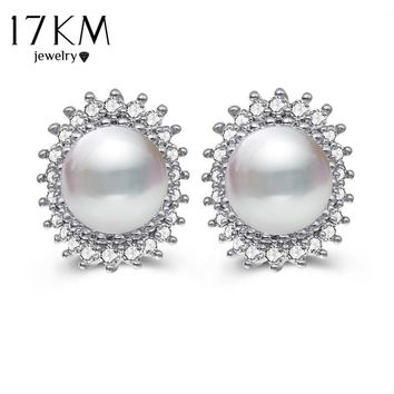 17KM Cubic Zirco Flower Sun Clip Earrings For Woman 2 Design Brincos Simulated Pearl Earring Wedding Statement Jewelry