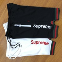 Supreme New Fashion Sports Running Print Fork Letter Embroidery Short Two color