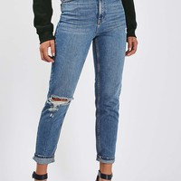 MOTO Mid Blue Rip Mom Jeans | Topshop