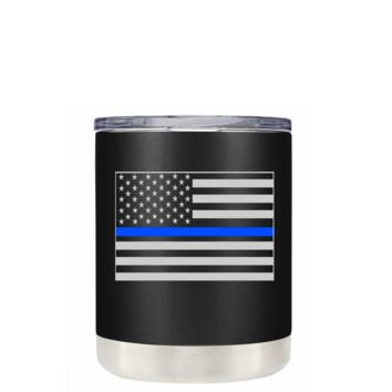 Thin Blue Line Police Flag on Black Matte 10 oz Lowball Police Tumbler