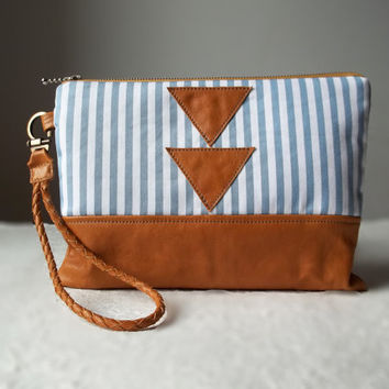 Nautical Clutch bag, Wristlet, Leather clutch bag, Clutch purse, Stripe bag, Women gift, Geometrical