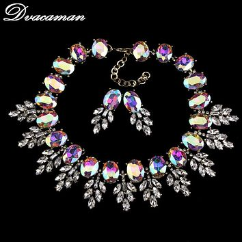 2016 Luxury Brand Crystal Leaves Choker Necklaces Pendants Fashion Big Chunky Opal Statement Necklace Women Jewelry Sets 8661