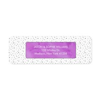 Black and White Polka Dots Purple Watercolor Label