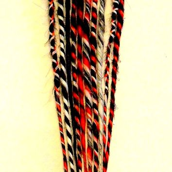 10 Synthetic Dreads Black Red White Dreadlock Kit or Fall
