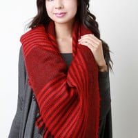Striped Melange Knit Blanket Scarf