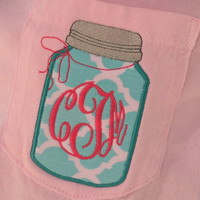 Monogram Comfort Colors Long Sleeve Pocket Tee Ball Mason Jar Appliqué  Font shown MASTER CIRCLE