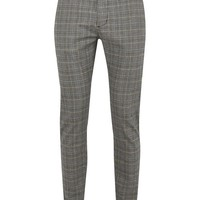 Gray And Blue Check Skinny Pants - New Arrivals - New In