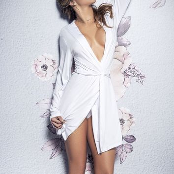 Mapale 8359 Bride Robe With Matching G-String Color White