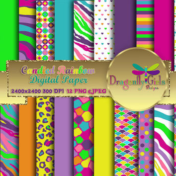80% OFF Sale Candied Rainbow Digital Paper Pack commercial use,scrapbook papers,background,animal print ,flowers,colorful, Chevron, Dots