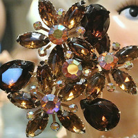 1960s 60s Mid Century Rhinestone Brooch Juliana Style Glass Rhinestones Smoky Quartz Amber Topaz AB Aurora Borealis Hollywood Regency Brooch