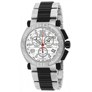 Invicta 1869 Men's Reserve Grey & White Dial Steel & Black Polyurethane Bracelet Chronograph Watch