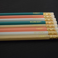 Days of the Week Engraved Pencils, Set of 8, Turquoise, Peach, White, Wood Colors