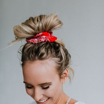 Prism Paisley Print Scrunchie - Red