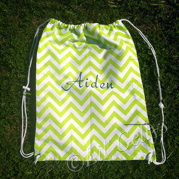 PERSONALIZED Chevron DRAWSTRING BAGS - /back to school/cheerleading/dance team/swim team/gymnastics/softball/gym/work out/adult/teen/sisters