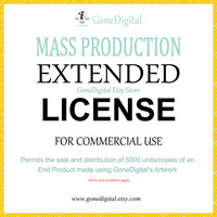 Mass Production Extended License for Commercial Use No Credit Add-on Permit the Sale of 5000 Units of an End Product Digital Papers Clipart