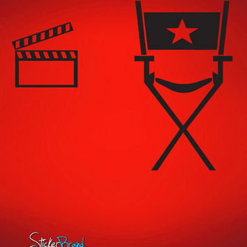 Vinyl Wall Decal Director's chair and Movie clapboard #479