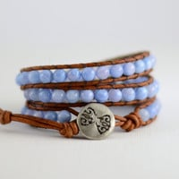 Beaded leather wrap bracelet. Cornflower blue jade jewelry. MTO