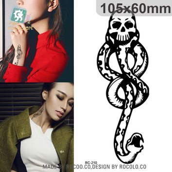 Water Transfer Temporary Tattoo Sticker Vintage Chest Designs Halloween horror Black Snake Tattoo Tattoo Sticker