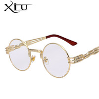 Gothic Steampunk Sunglasses Men  Metal WrapEyeglasses Round Shades Brand Designer Sun glasses Mirror  High Quality UV400