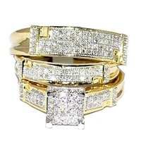 CERTIFIED 1/2cttw Yellow Gold Trio Wedding Set Mens Women Rings Real  Diamonds Pave