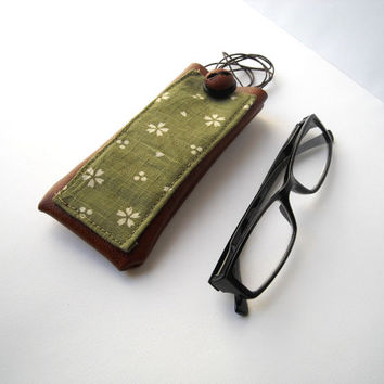 Green eyeglass case with lanyard, faux leather holder for glasses, spectacles cover