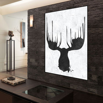 extra large wall art abstract painting on canvas, original deer Painting, black and white handmade Painting, Abstract art, home fine art