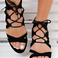 Under The Moon Lace Up Booties (Black)