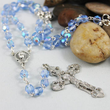 Silver Cross Rosary Necklace, Blue Crystal Rosary, Mother Mary Religious Jewelry, Spiritual Necklace