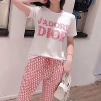"""Dior""Woman's Leisure  Fashion Letter Drill Printing Loose Short Sleeve Shorts Two-Piece Set Casual Wear"