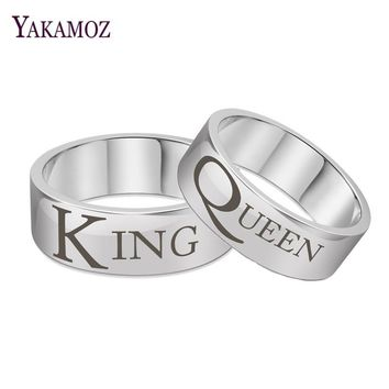 Cool YAKAMOZ Steel Color King Queen Couple Rings Personality Titanium Steel Carved Letters Rings Fine Brand Finger JewelryAT_93_12