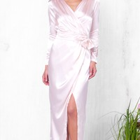Indie XO Moonlit Soiree Pink Satin Long Sleeve Wrap Silky Tie Waist V Neck Slit Maxi Dress Evening Gown - Almost Gone