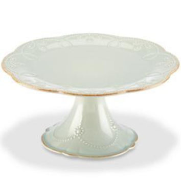 French Perle Ice Blue Medium Pedestal Cake Plate by Lenox
