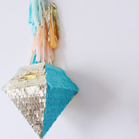 Piñata - Diamond Two Tone - Metallic Gold and Turquoise