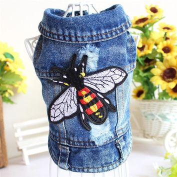 Embroidery Design Cat Dog Clothes Denim Pet Puppy Vest Cowboy Summer Jacket for Chihuahua Teddy Costume Bee Fly Dogs Coat