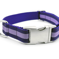 Layered Stripe Dog Collar with Plain Buckle - PURPLE/LILAC