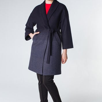 Navy Blue Coat Navy Jacket Women Coat Wool Coat Trendy Coat Short Coat Classy Coat Navy Outwear Kimono Coat Dark Blue Coat Drk Blue Jacket
