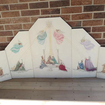 Rebecca Waldrop Hand Stitched Nativity Scene Completed Cross Stitch Set Of Six Pictures Ultra Rare
