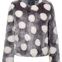 Unreal Fur | Bubbles Jacket in Charcoal & Ivory